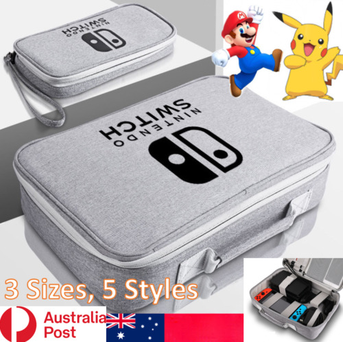 Ninetendo Switch Case Console Accessories Portable Bag Mario & Pokeman Styles AU