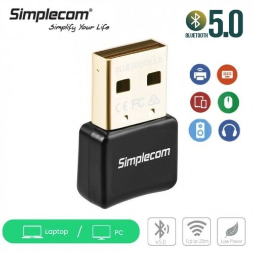 Simplecom Bluetooth 5.0 Adapter Wireless Dongle with A2DP EDR 20m Range