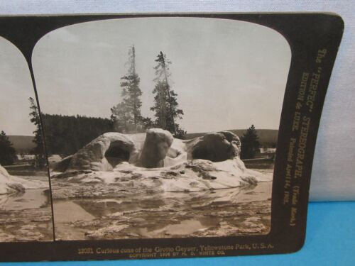 Curious Cone of The Grotto Geyser YELLOWSTONE PARK Photo Stereoview Card 1904 ~~