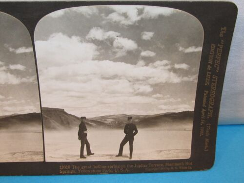 Jupiter Terrace Mommoth Hot Springs YELLOWSTONE Park Photo Stereoview Card 1904