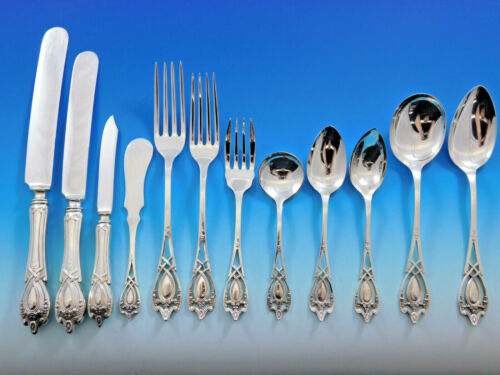 Monticello by Lunt Sterling Silver Flatware Set For 12 Service 144 Pieces Dinner