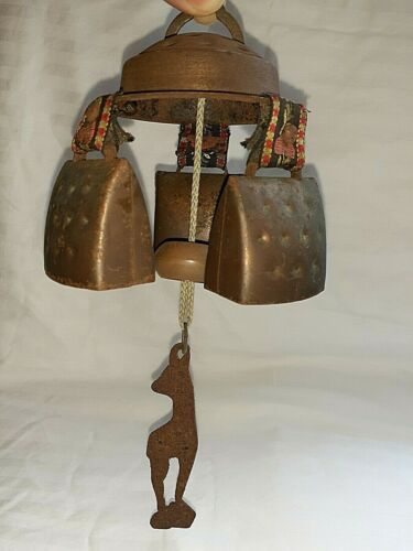 END rare uniq Antique COW BELL Chime French swiss austrian ALPs german embroider