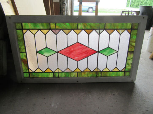 ~ ANTIQUE STAINED GLASS TRANSOM WINDOW ~ 44 x 24 ~ ARCHITECTURAL SALVAGE