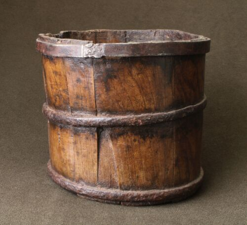 Early 19th Century Staved Oak Iron Banded Grain Bucket -Wonderful Patina