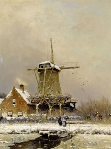 Oil painting louis apol - figures by a windmill in a snow covered landscape art