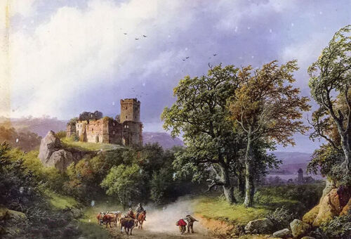 Oil painting berckheyde -the ruined castle landscape & cows Cowherd on canvas