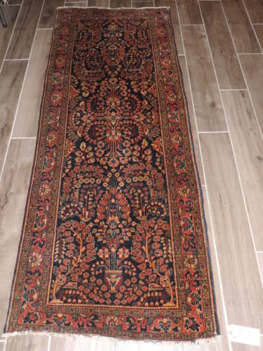 3x7ft. Antique Blue Sarouk Wool Runner
