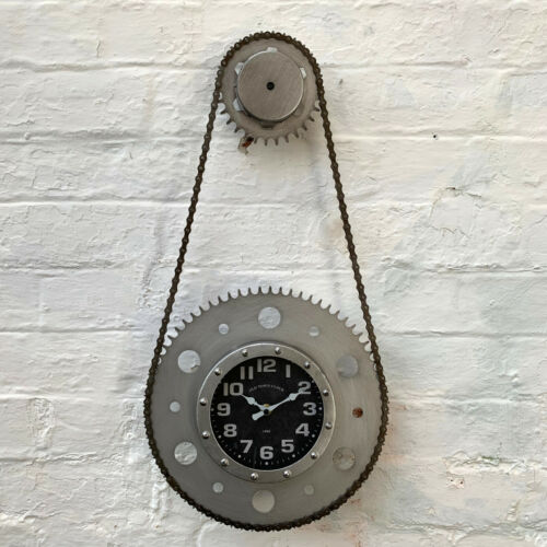 Industrial Retro Silver Real Bike Chain Cog Gear Urban Wall Mounted Clock Large