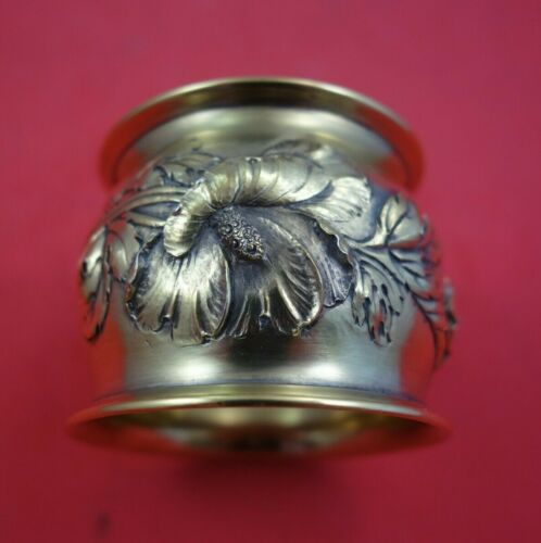 Les Cinq Fleurs by Reed and Barton Sterling Silver Napkin Ring Vermeil Dated