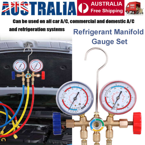 Refrigerant Manifold Gauge Set Air Conditioning Tools with Hose & Hook AU STOCK