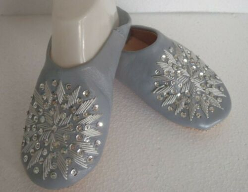 MOROCCAN * GREY * LEATHER SEQUINED SLIPPERS