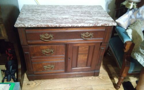 Antique Brown Marble Top Dry Sink Wash Stand Double Doors