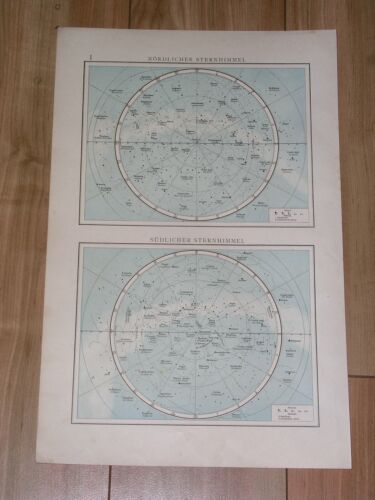 1896 ORIGINAL ANTIQUE MAP OF NORTHERN SOUTHERN SKY HEAVENS STARS ASTRONOMY