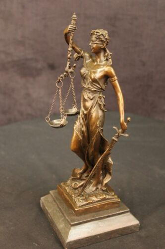 Lady Justice Bronze on 11 Cast Genuine Bronze Scales Of Justice Blind Lady DEAL
