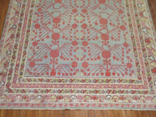 Antique Pomegranate East Turkestan Khotan Rug Size 6'x9'