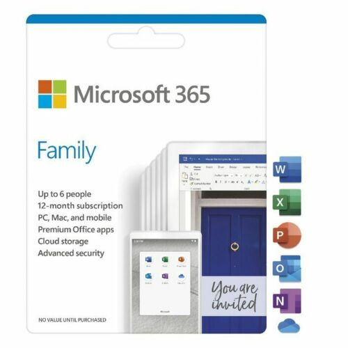Microsoft 365 Family 1 Year Subscription [Digital Download] up to 6 Devices -...