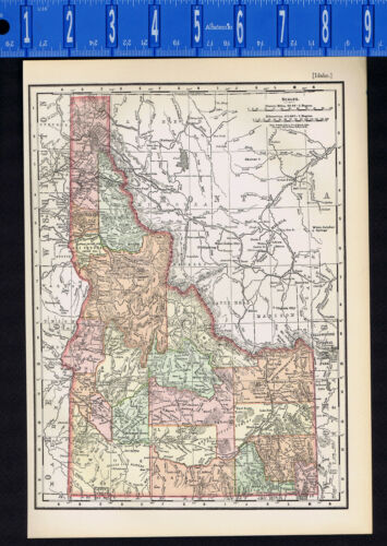 IDAHO 1895 Antique State Map with County & City Lists