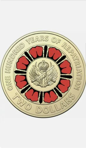 UNC 2019 Australian Repatriation $2 Two Dollar Red Coloured Coin from mint bag.