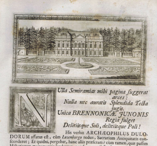 Roman Stone Pine Woods & Palace with Garden-1696 Beger Engraving