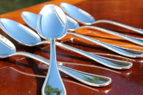 Christofle Perles Silver plated Table Spoons a Set of SIX