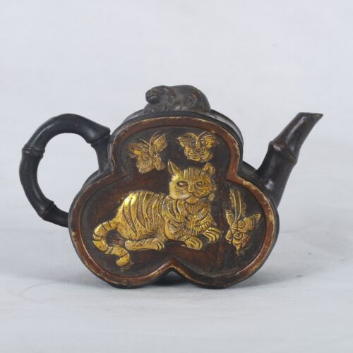 Old Copper Handwork Carved Mandarin Duck & Cat Teapot With Qianlong Mark