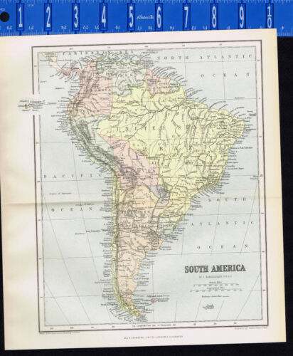 COUNTRY & PHYSICAL MAP of SOUTH AMERICA, Bartholomew -  1891 Antique Map