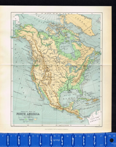 COUNTRY & PHYSICAL MAP of NORTH AMERICA, Bartholomew -  1891 Antique Map