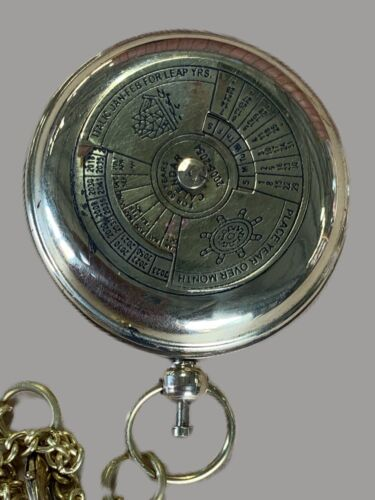 PUSH BUTTON PERPETUAL CALENDAR BRASS COMPASS - With Chain Ship MELBOURNE PIRATE