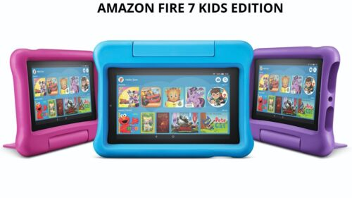 AMAZON FIRE 7 WiFi TABLET 16Gb 9th Gen 2019 w CASE STAND - KIDS EDITION kindle