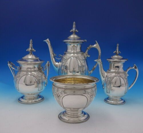 Wood and Hughes Coin Silver Tea Set 4pc 3-D Finial Repoussed Flowers (#4942)