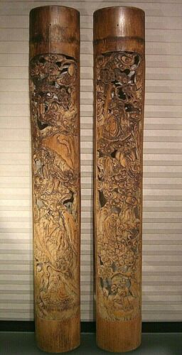 ANTIQUE CHINESE CARVED BAMBOO WALL PANELS PAIR
