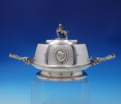 Medallion by Gorham Coin Silver Butter Dish #190 w/Lion Applied Medallions #4947