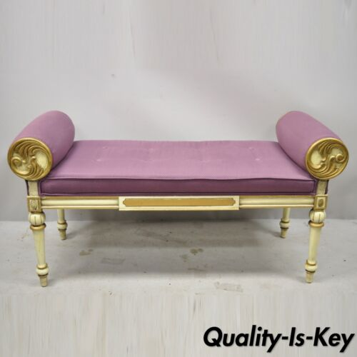Vintage French Louis XVI Italian Provincial Cream Painted Purple Window Bench