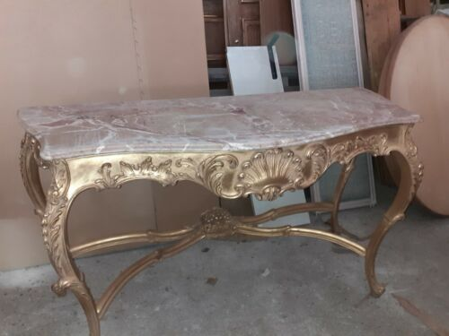 Regency Consolle table 4 legs marble top, Italy.