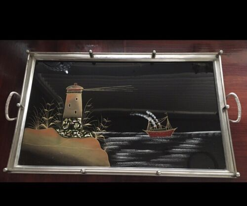 Vintage  Inlaid MOP  Lighthouse  & Ship  Nautical Art Deco Serving  Drinks Tray