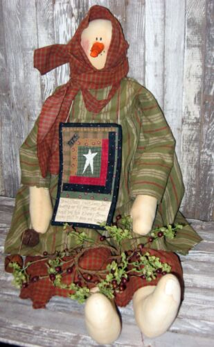 """PRIMITIVE 30"""" Snowman doll FABRIC Sewn Handmade Antique Country WINTER Christmas"""