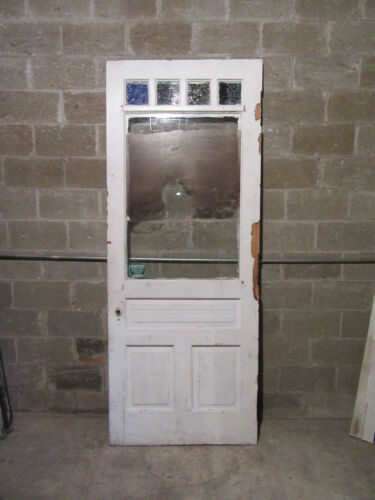 ~ ORNATE VICTORIAN DOOR WITH STAINED GLASS CYPRESS ? ~ 37.5 X 95 ~ SALVAGE ~