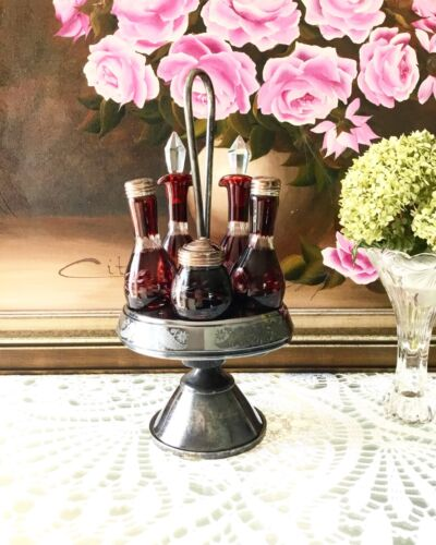 Antique Victorian Cruet Condiment Castor Set, Ruby Red Glass with Silver Stand