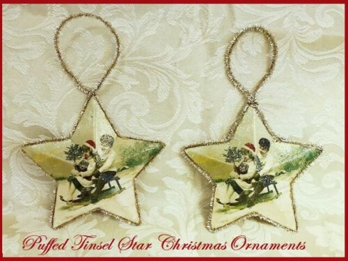 2 Xmas STAR Ornaments Tinsel Trim Frosted Puffed Antique Style Children on Sled
