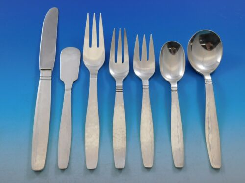 Swedish Modern by Allan Adler Sterling Silver Flatware Set Heavily Hammered 65pc