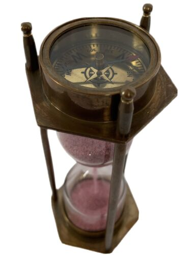 BRASS SANDTIMER PINK SAND NAUTICAL STEAMPUNK SHIPS MELBOURNE GLASS With COMPASS