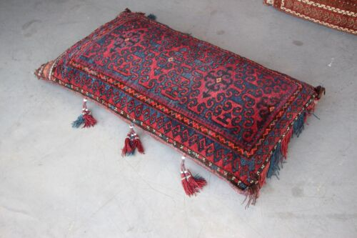 Large hand knotted Tribal floor cushion with ornate scroll design and tassles
