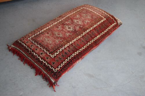Large hand knotted Tribal floor cushion seat red lozenge design double sided
