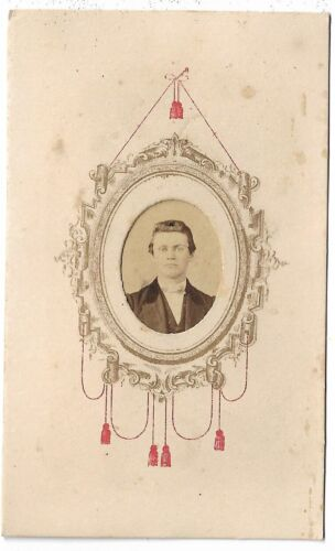 CDV Photograph Younger Man Mirror Motiff 2c Affixed Stamp 1864-66