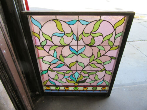 ~ ANTIQUE STAINED GLASS WINDOW 8 JEWELS ~ 38 X 45 ~ ARCHITECTURAL SALVAGE ~