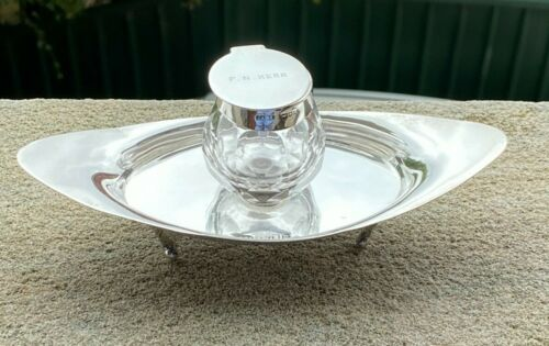 Solid Silver Inkwell and Dish - Charles & George Asprey - London - 1902