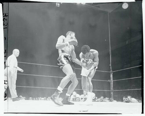 Floyd Patterson Boxing Against Tommy Jackson 1956 OLD BOXING PHOTO 4
