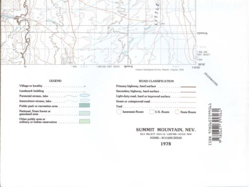 USGS Flat Sheet Topographic Map SUMMIT MOUNTAIN Nevada 1978 -100K- barcoded -