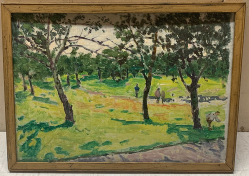 DENMAN WALDO ROSS 'Day in the Park' LANDSCAPE Oil Painting - Listed HARVARD MFA