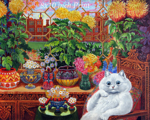 Cat in the Garden Room by Louis Wain - White Kitty Sitting Chair 8x10 Print 3270